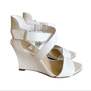 Guess By Marciano White Wedge Leather Sandals 7